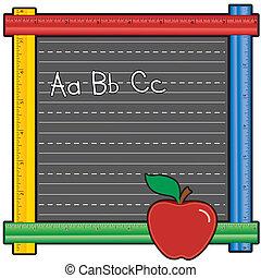 règle, tableau noir, abcs, pomme