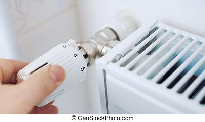 règle, température, radiateur, maison, thermostat, homme