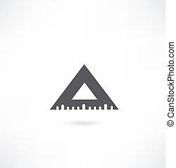 règle, triangulaire, icône