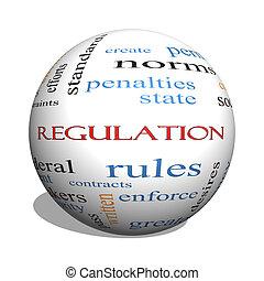 règlement, 3d, sphère, mot, nuage, concept