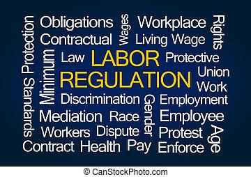 règlement, mot, nuage, main-d'œuvre