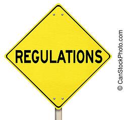 règlements, jaune, avertissement, signe rendement, prendre...