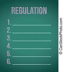 règlements, liste, conception, illustration