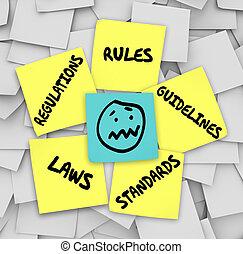 règlements, normes, collant, règles, lois, figure, accentué, notes