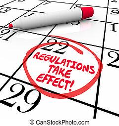 règlements, prendre, effet, calendrier, jour, date, entouré, rappel
