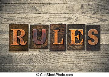 règles, bois, concept, type, letterpress