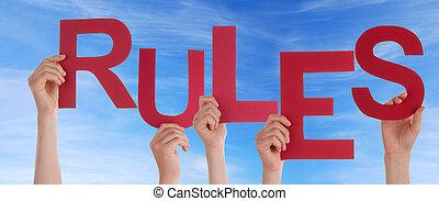 règles, ciel, tenant mains