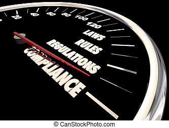 règles, conformité, règlements, animation, 3d, compteur vitesse, lois
