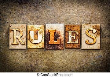 règles, cuir, thème, concept, letterpress