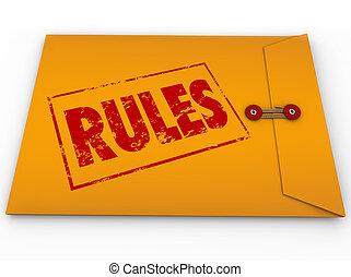 règles, directives, enveloppe, jaune, règlements, top secret
