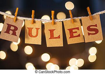règles, lumières, concept, cartes, coupé