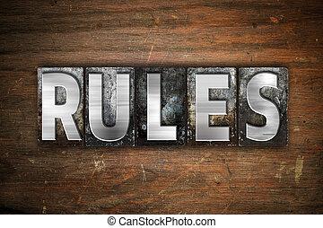 règles, métal, concept, type, letterpress