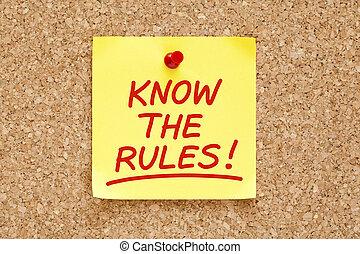 règles, note, savoir, collant