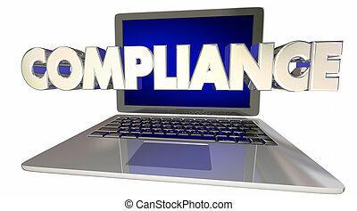 règles, ordinateur portable, conformité, illustration, règlements, informatique, ligne, lois, 3d