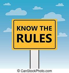 règles, panneau affichage, écrit, savoir