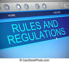 règles, règlements, concept.