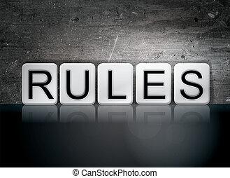 règles, thème, concept, lettres, carrelé