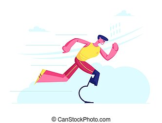 rééducation, prothèse, vecteur, sportif, jambe, dessin animé, athlète, handicapé, formation, homme, exercises., jogging, course, bionique, jeune, outdoors., post-accident, récupération, illustration, plat, amputé, courant