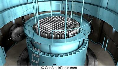 réacteur, puissance, nucléaire, intérieur, vue., plante