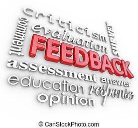 réaction, 3d, mot, collage, évaluation, commentaire, revue