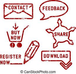 réaction, achat, simple, registre, part, timbres, vecteur, téléchargement, contact