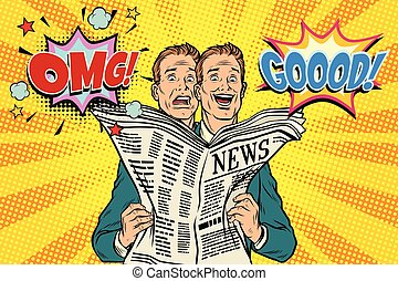 réaction, bon, hommes, mauvais, journal, nouvelles
