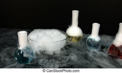 réaction chimique, flacons