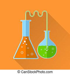 réaction chimique, plat, icône