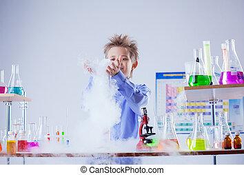 réaction, garçon, montres, chimique, réactif, curieux