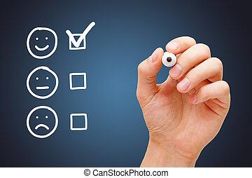 réaction, heureux, enquête, client, concept, formulaire