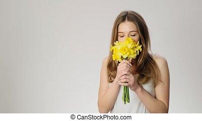 réaction, lent, allergetical, mouvement, girl, fleurs, ...