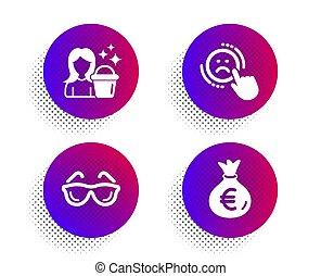 réaction, optometry., set., négatif, sac, vecteur, service, bonne, signe., lunettes, aversion, argent, icônes, nettoyage