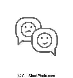 réaction, positif, négatif, parole, ligne, bulle, icon.
