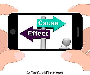 réaction, poteau indicateur, effet, conséquence, affichages, action, cause, ou