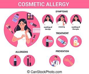 réaction, rouges, allergy., cosmétique, skin., itchy, allergique, femme