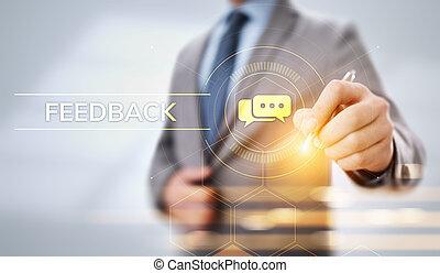 réaction, satisfaction, revue, testimonials, service clientèle, business, concept.