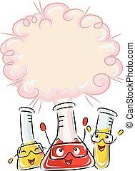 réaction, tube, chimique, essai, bouffée, mascotte