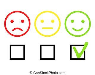 réaction, vecteur, positif, illustration, négatif