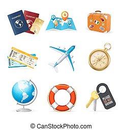 réaliste, 3d, détaillé, voyage tourisme, couleur, icône, set., vecteur