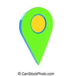 réaliste, 3d, indicateur, de, map., 3d, illustration