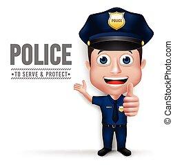 réaliste, 3d, police, caractère, homme