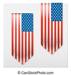 réaliste, américain, rubans, flag.