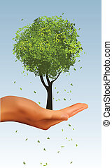 réaliste, arbre, tenant main