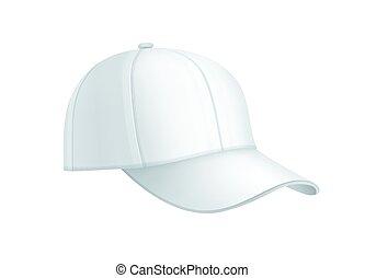 réaliste, blanc, casquette, base-ball