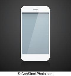 réaliste, blanc, smartphone.