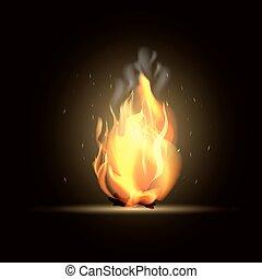 réaliste, brûlé, brûler, flame., vecteur, illustration