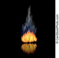 réaliste, brûler, flamme, à, fumée, sur, arrière-plan noir