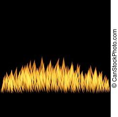réaliste, brûler, flamme, isolé
