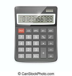 réaliste, calculatrice, isolé, arrière-plan., vecteur, blanc