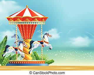 réaliste, carrousel, fond